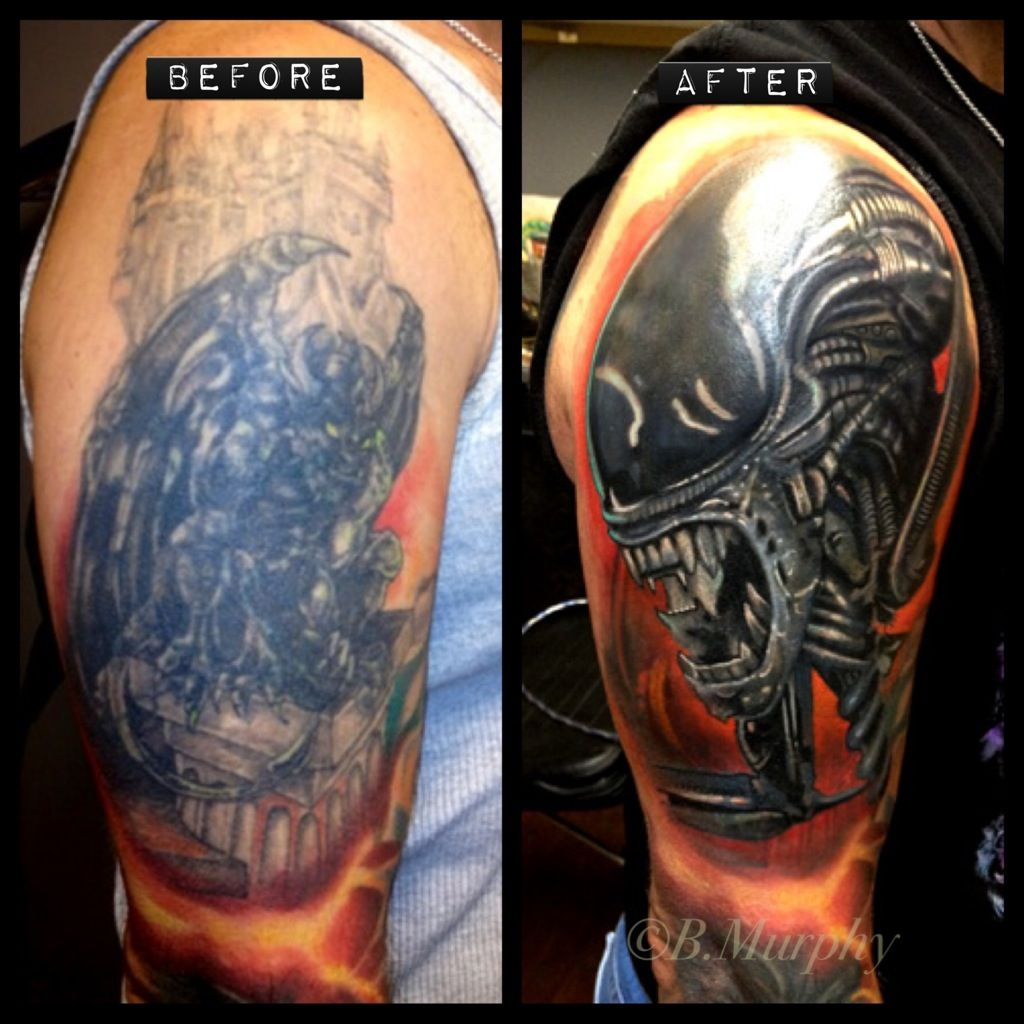 Cover up over large dark tattoo Cover up tattoos, Cover