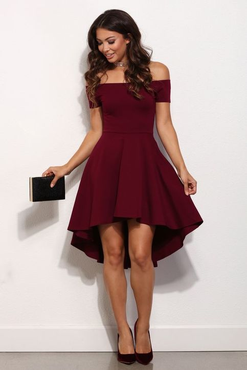 High Low Off-the-Shoulder Short Homecoming Dresses Prom Dresses 86212 from Luckdresses