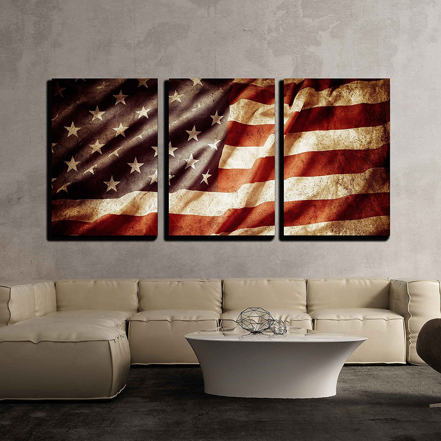 Wall26 3 Piece Canvas Wall Art Closeup Of Grunge American Flag Modern Home Decor Stretc With Images American Flag Wall Decor Flag Wall Decor Canvas Art Wall Decor