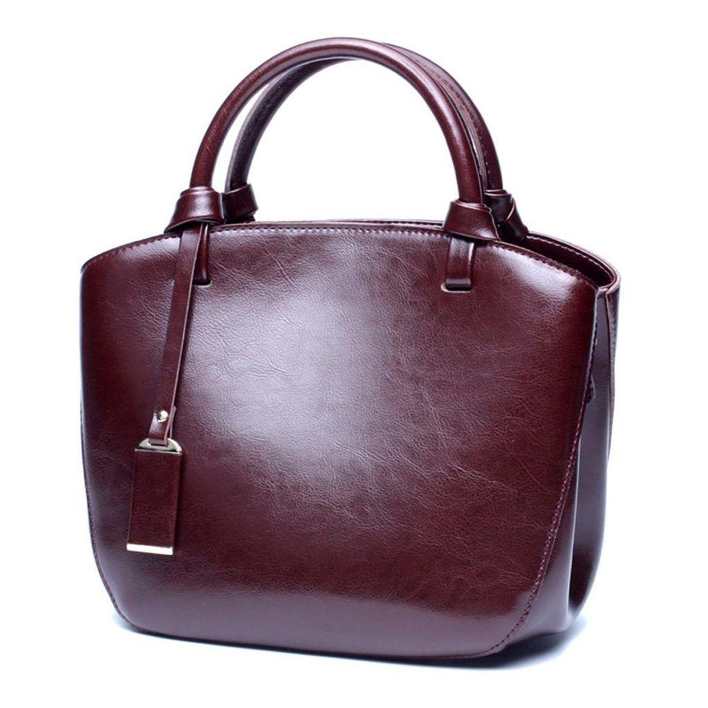 Women Leather HandBags Messenger Bags Designer Tote Shoulder Bag Brown one size