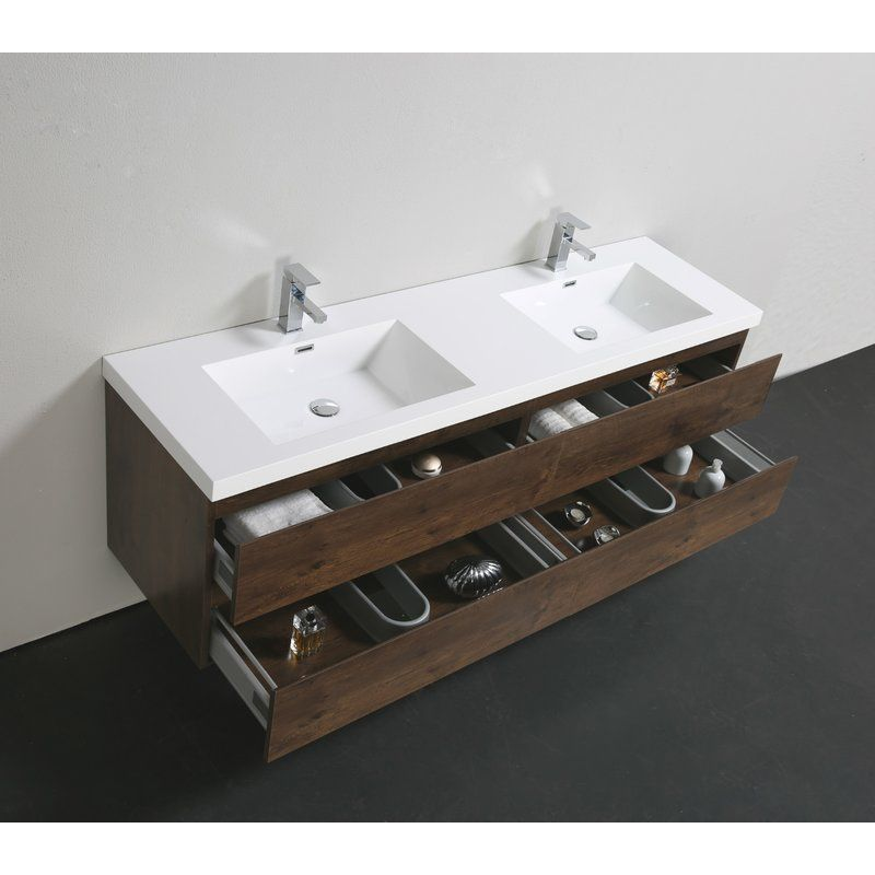Lina 70 Wall Mounted Double Bathroom Vanity Set With Images