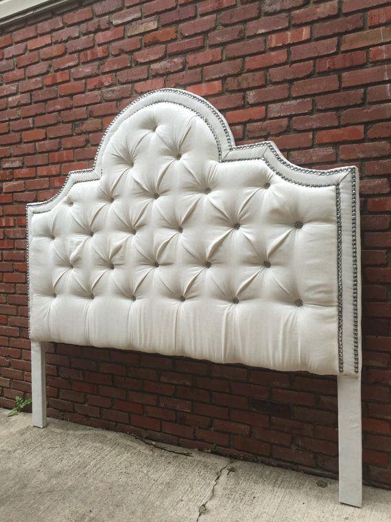 Tufted Headboard Upholstered King Bed Diamond Nail Head Trim Crystal ...