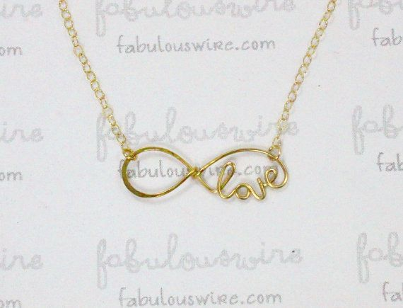 Gold Love Infinity Necklace, Handcrafted Gold Filled Wire, Infinity Love Jewelry, Bridesmaid Necklace, Eternity Love Forever Friendship Gift