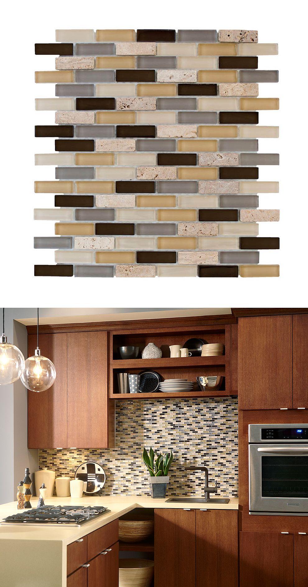 jeffrey court castle stone brick 12 in x 12 in x 8 mm glass travertine mosaic wall tile - Glass Tile Castle Ideas