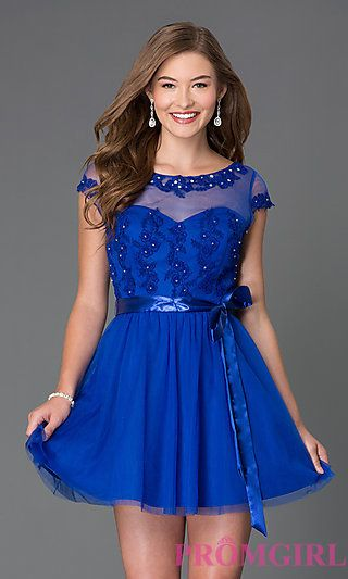 Short Scoop Neck Homecoming Dress 3600463 by Masquerade at PromGirl.com