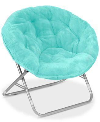 teal faux fur saucer chair portable beach hammock arron adult quick ship macys com isabel s