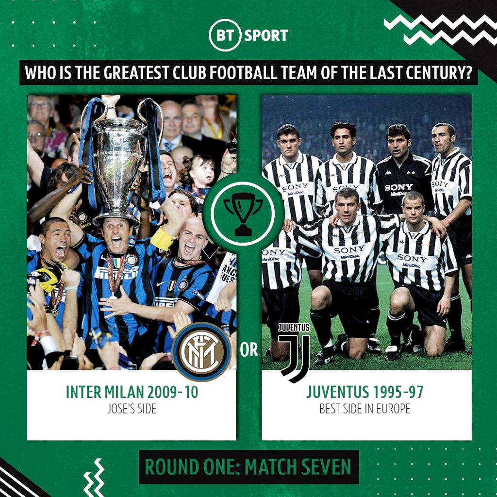 Match-up 7️⃣: The battle of two great Italian teams! Which was best? 🇮🇹🤔 — #btsport #football #soccer #sport #intermilan #juventus #mourinho #championsleague #ucl