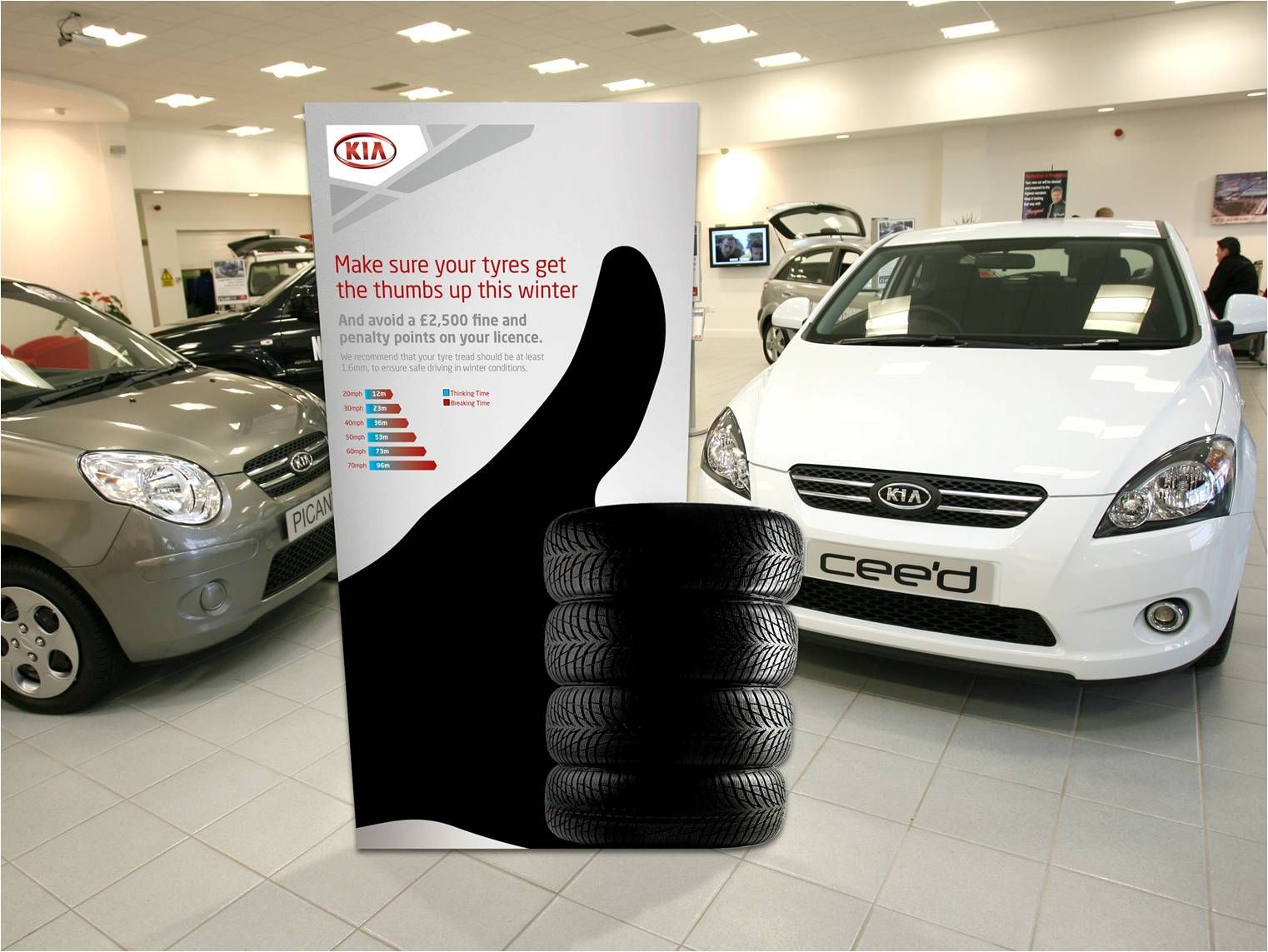 Kia Encourages Customers To Get Ready For Winter Tyre Stand - Car show display stand for sale