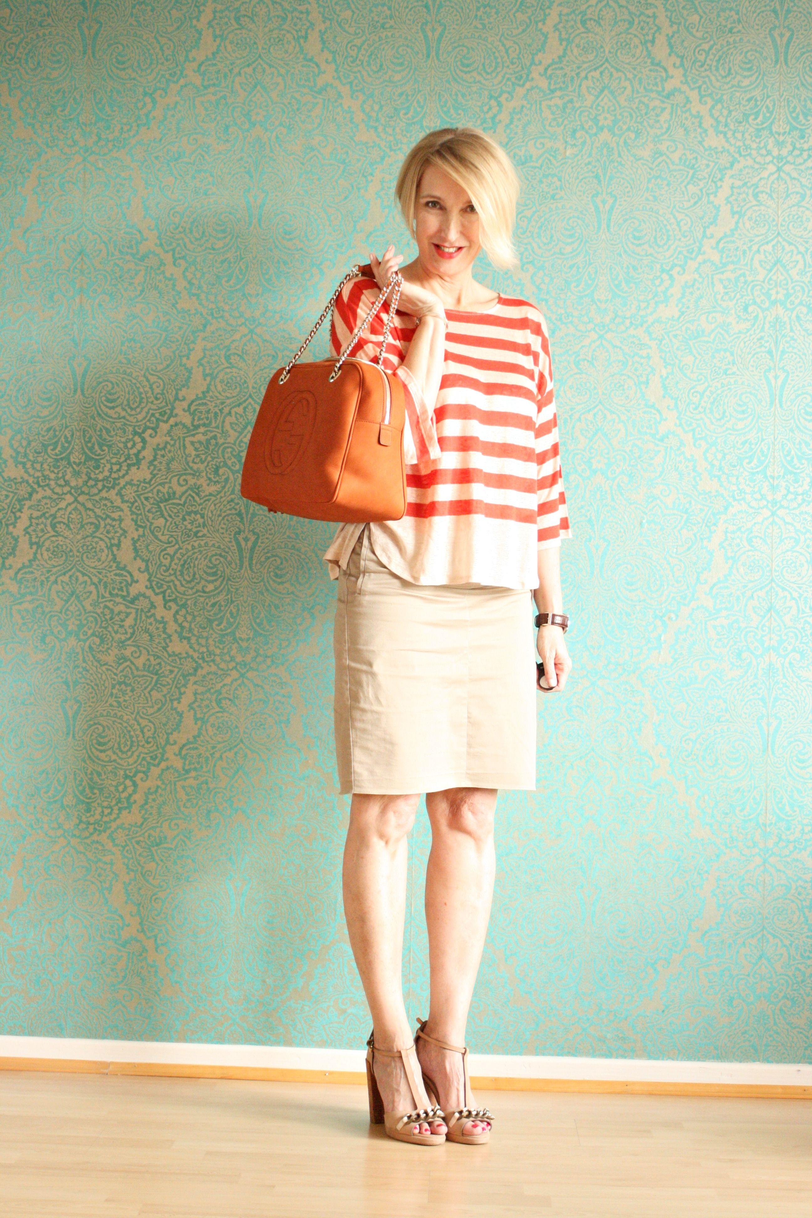 A fashion blog for women over 40 and mature women Shirt: HOSS Indropia Skirt. Zara Bag: Gucci Sandals: Dorothee Schumacher  http://www.glamupyourlifestyle.com/