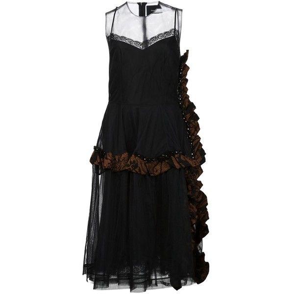 Simone Rocha Ruffled Tulle Dress (£1,655) ❤ liked on Polyvore featuring dresses, black, kohl dresses, black flounce dress, flouncy dress, ruffle dress and frilly dress