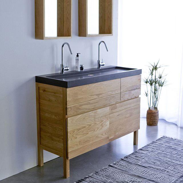 Meuble Salle de bain en bois de chªne et pierre de lave 120 Easy