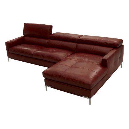 J 1281 Modern Brown Grain Italian Leather Sectional Sofa