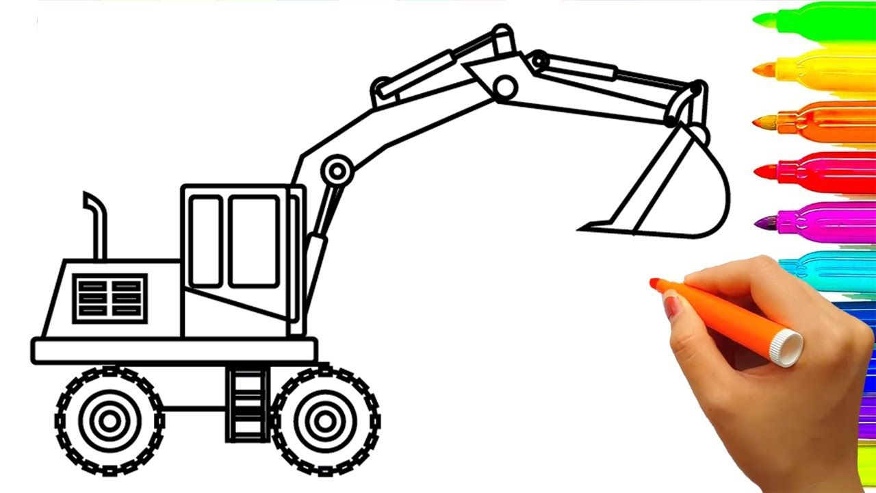 Learn Colors With Car Excavator Truck Coloring Book Pages Fun