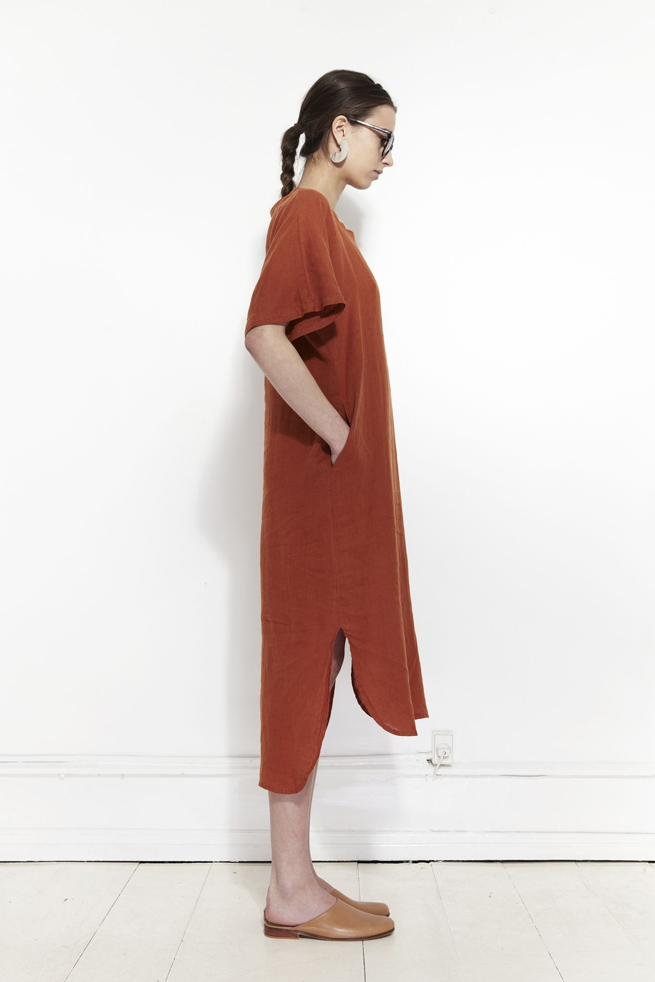 Black crane linen long dress brick mr larkin linen