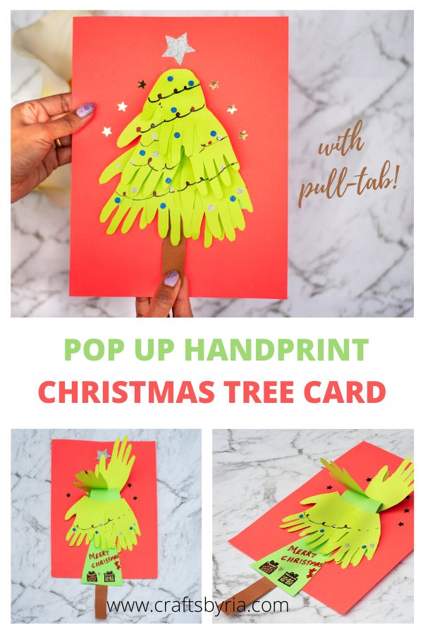 Handprint Christmas Tree Card With Pull Tab Handprint Christmas Tree Handprint Christmas Christmas Tree Cards