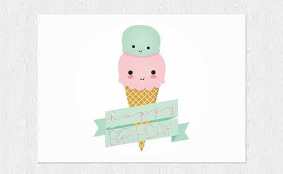 Happy Birthday card Ice cream kawaii instant download funny card – Birthday Cards Pdf