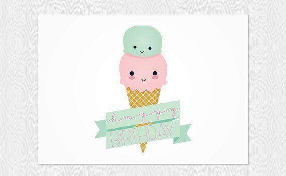 Happy Birthday card Ice cream kawaii instant download funny card – Birthday Card Pdf