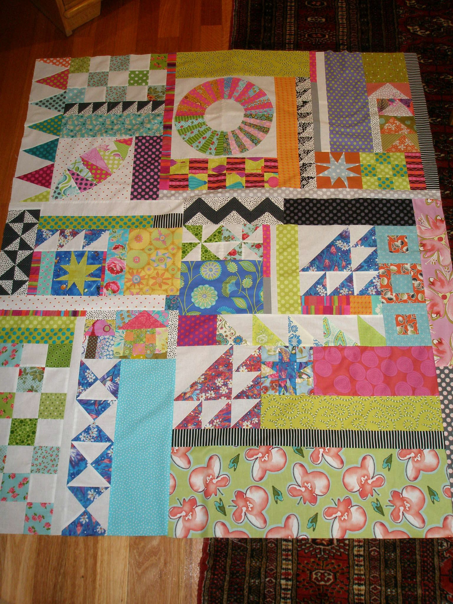 My Version Of Everything But The Kitchen Sink Quilt Not Quilted