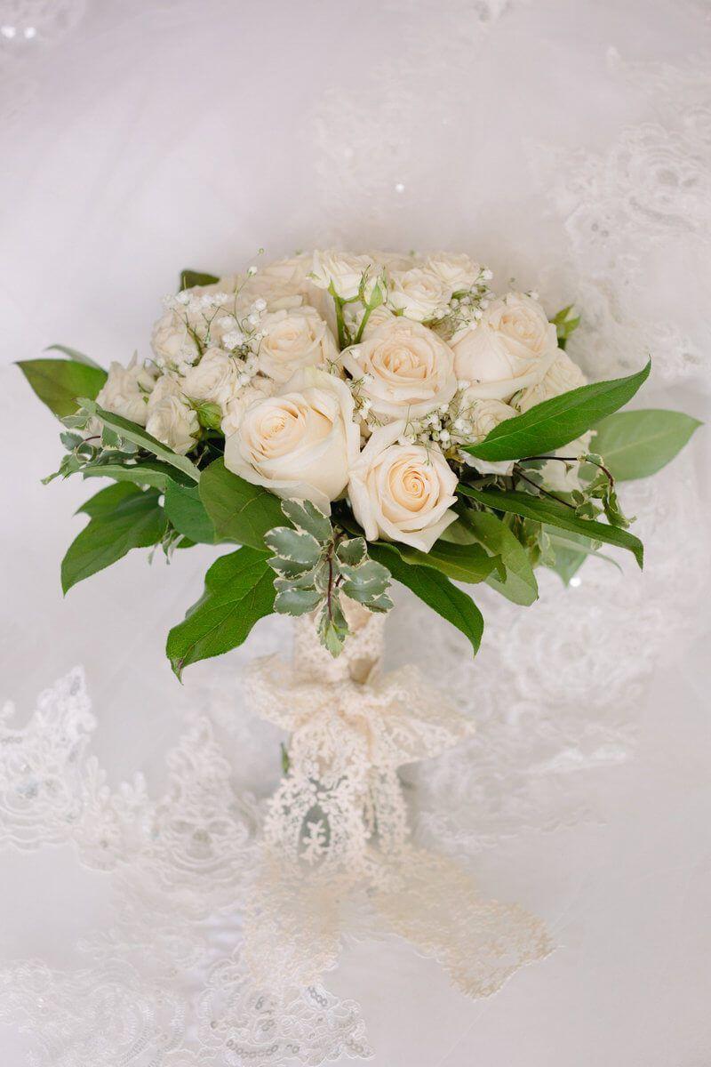 Elegant gold toronto wedding wedding bouquets from aisle society elegant gold toronto wedding all white bridal bouquet with greenery izmirmasajfo