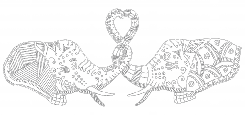 Elephants In Love Coloring Page Repujado Elefantes Pinterest - Coloring-pages-elephants