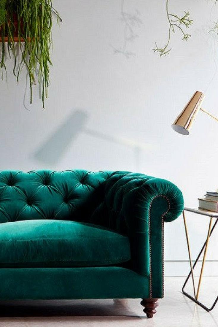 Velvet sofas are massively on-trend and green velvet is the epitome ...