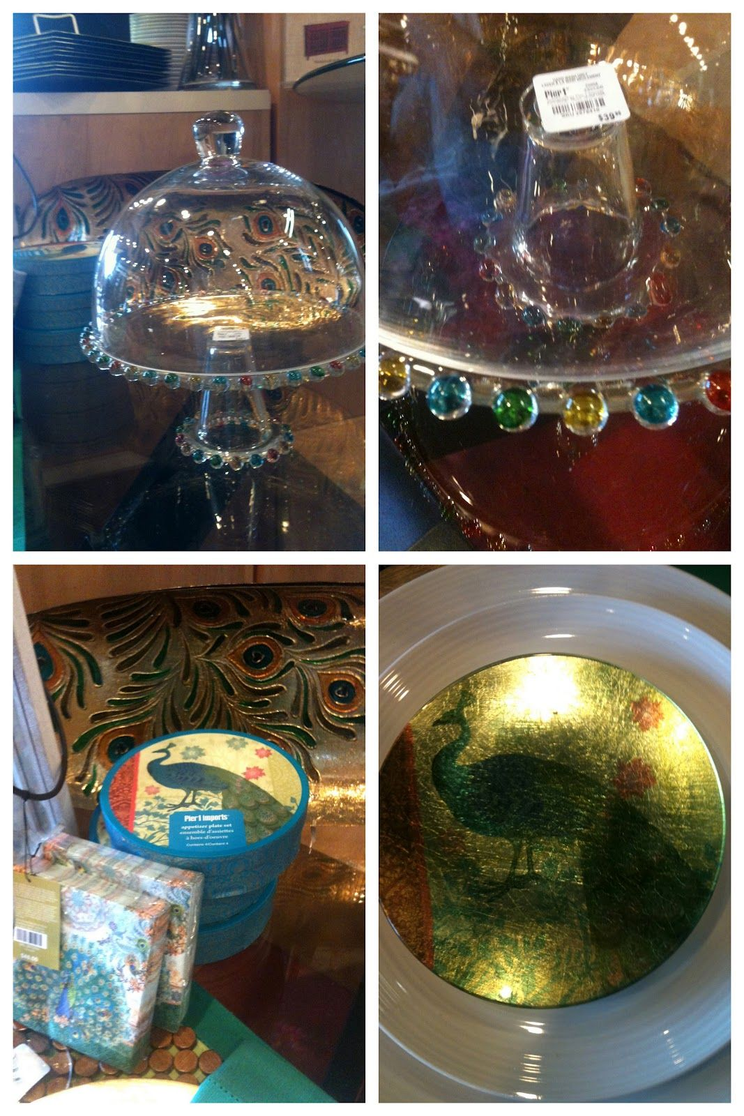 Pier 1 Color Beaded Cake Stand with Dome and Peacock Plate