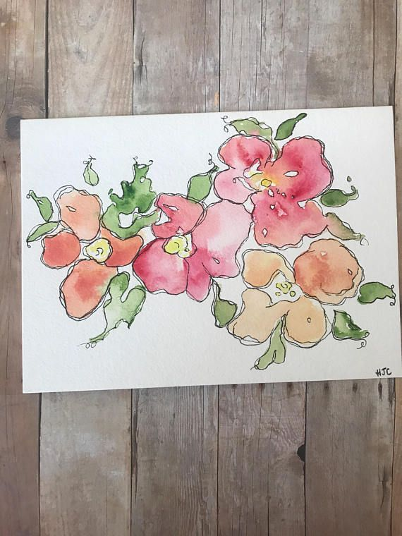 watercolor flower card hand painted flower card homemade