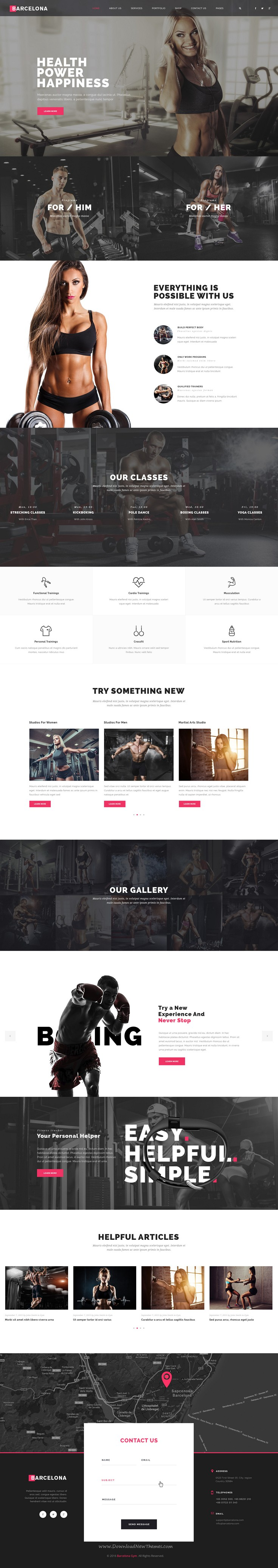 Barcelona is a powerful, modern and creative #PSD template for Sport and #Gyms, being suited as well for other similar type of businesses #website.