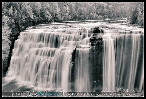 Letchworth Middle Waterfall in Black and White
