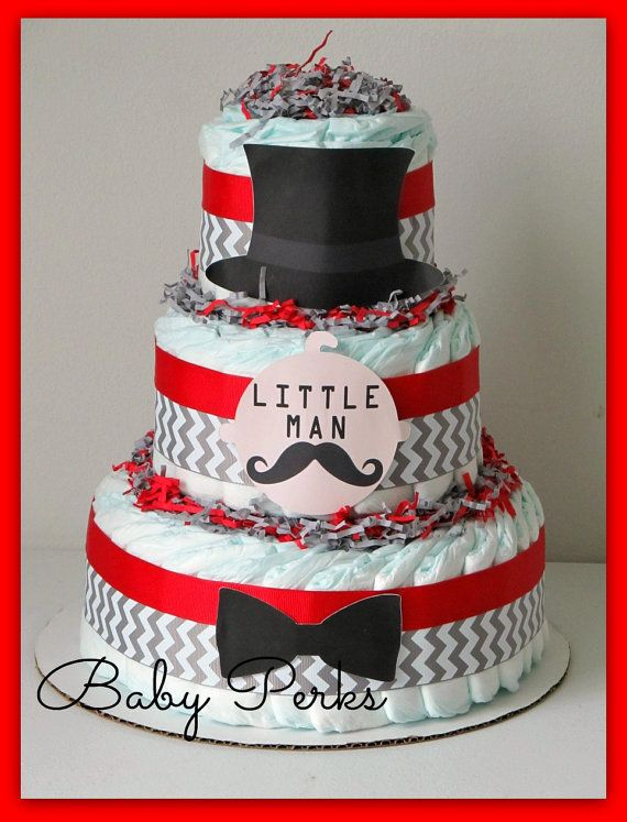 Red And Black Baby Shower Decorations Part - 34: 5 Color Designs - Little Man Diaper Cake, Mustache Baby Shower , Mustache  Party , Baby Shower Decorations