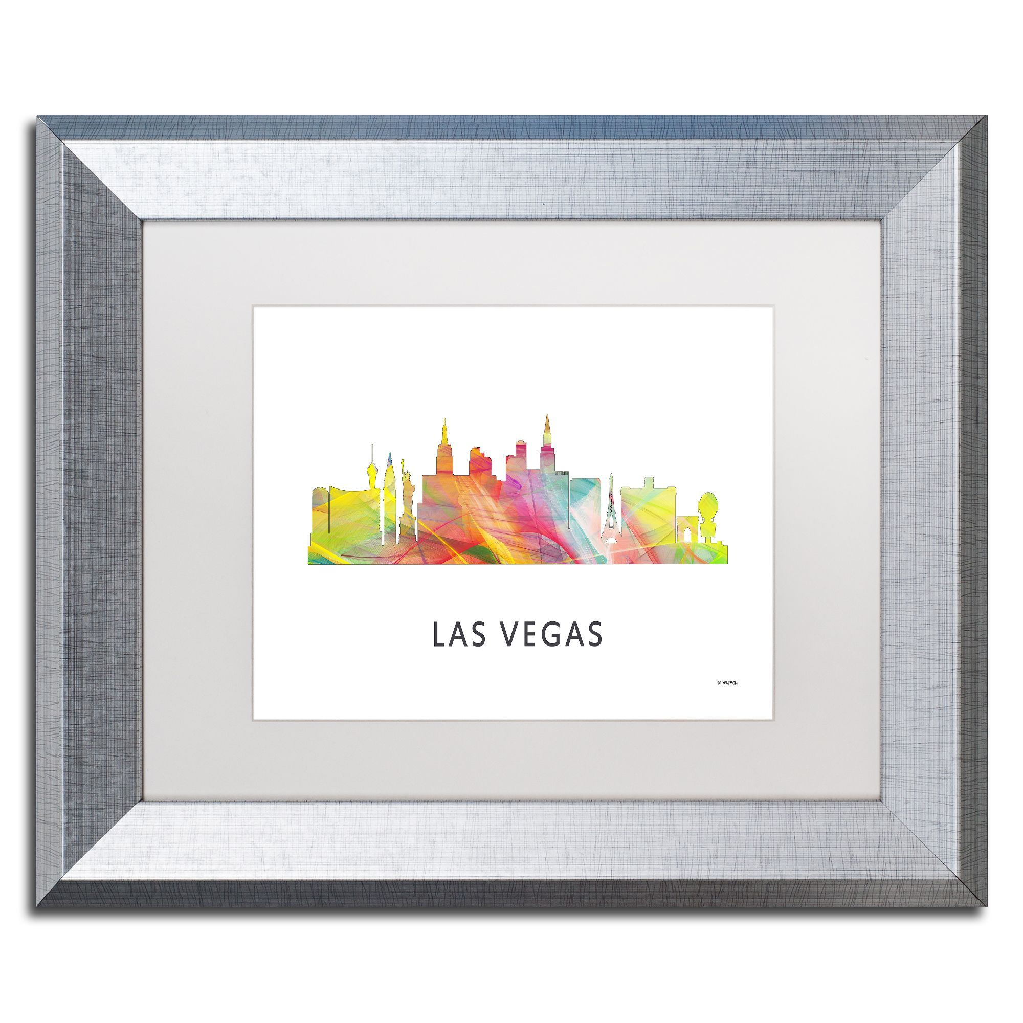 Marlene Watson 'Las Vegas Nevada Skyline 2 WB-1' Matted Framed Art