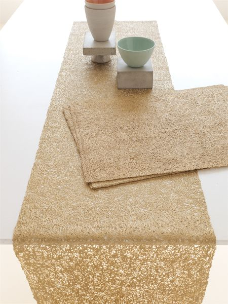 Chilewich New Collection A New Modern Lace Rectangle Placemats And Runner In Gold Scribble Elegant Entertaining Chilewich Gold Runner