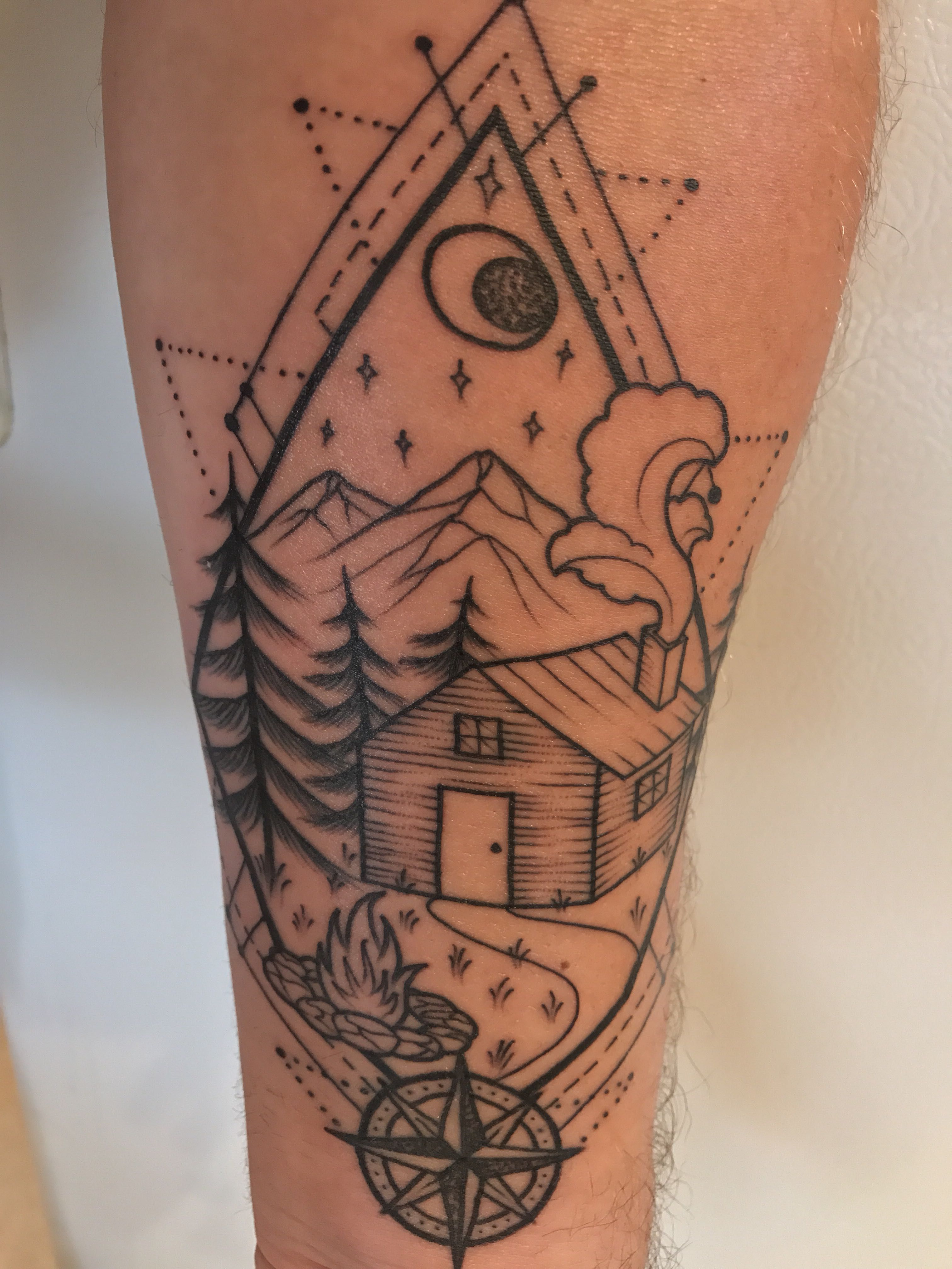 Geometric cabin by tanner minnock tribe tattoo in denver