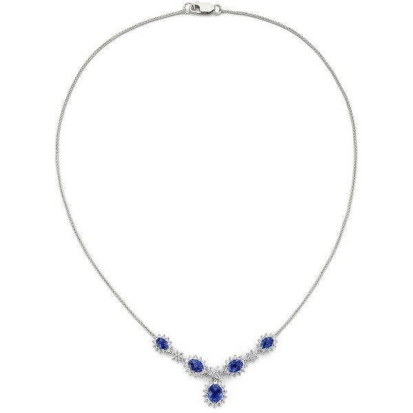 Lab-Created Sapphire & Sterling Silver Necklace (2 855 ZAR) ❤ liked on Polyvore