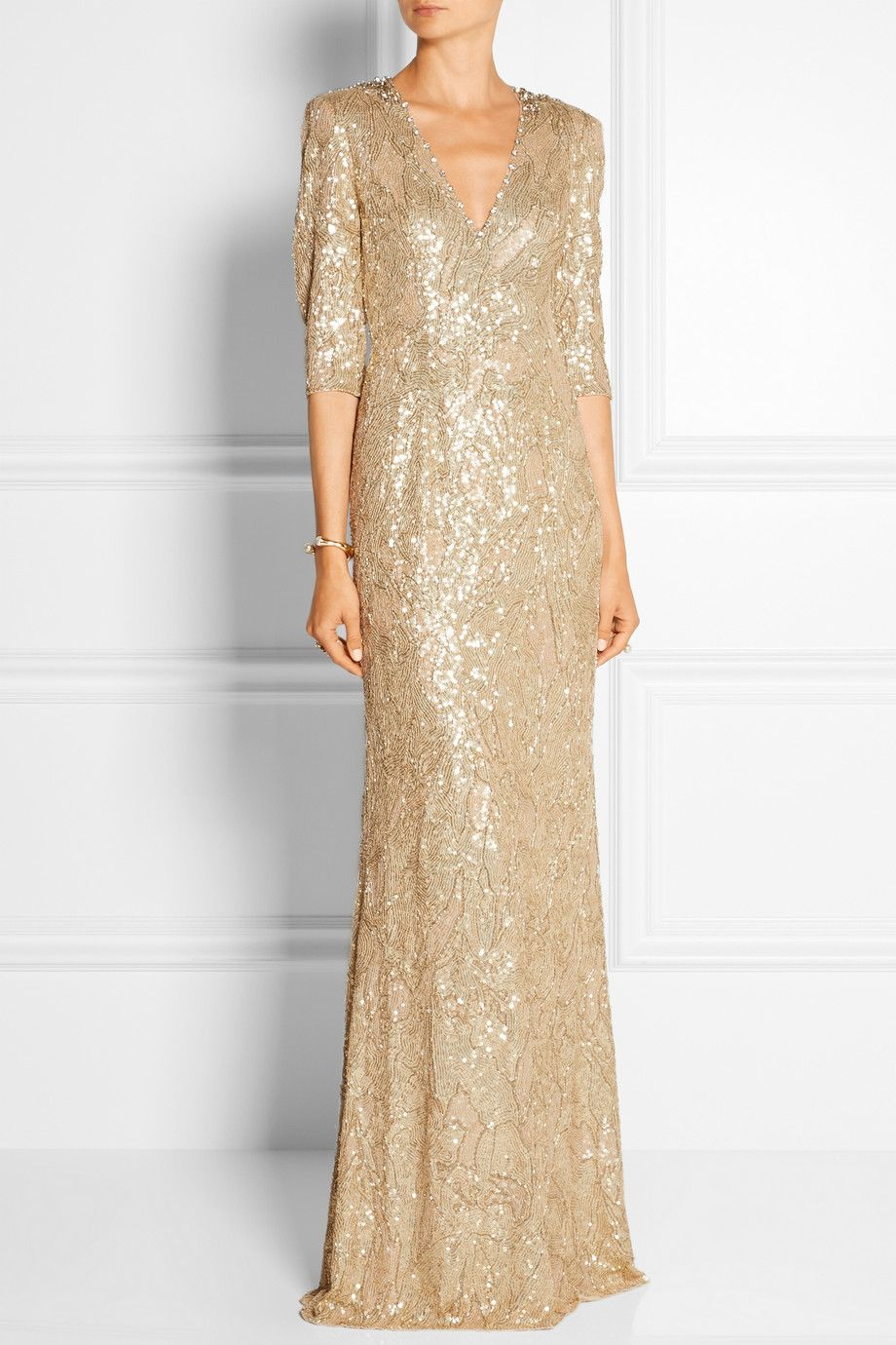 gold sequin wedding dress 20 Showstopping Sequin Wedding Dresses