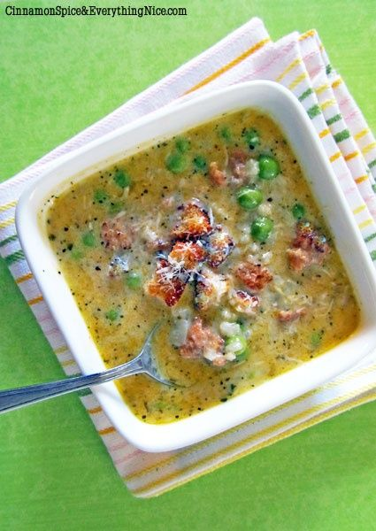 Risotto, Pea and Sausage Soup