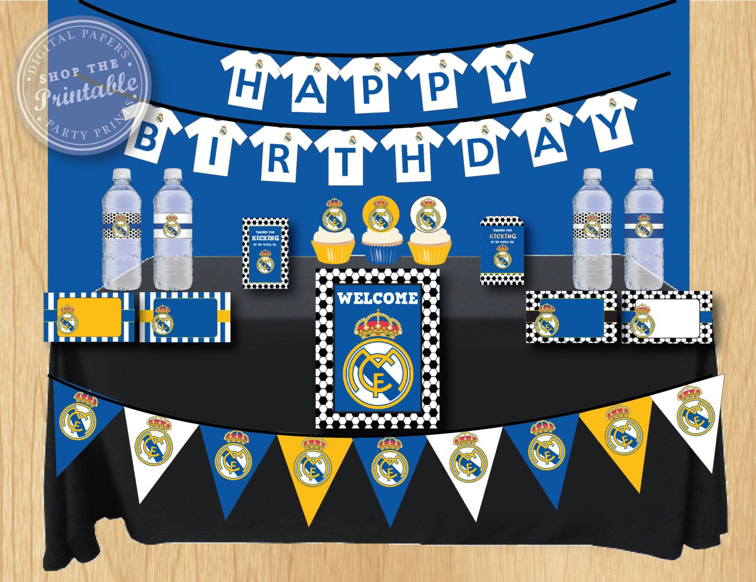 Real Madrid Birthday Party Package Soccer Birthday Party Thank You Tag Water Bo E Label