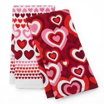 Valentine S Day Hearts 2 Pk Kitchen Towels Kohls With Images