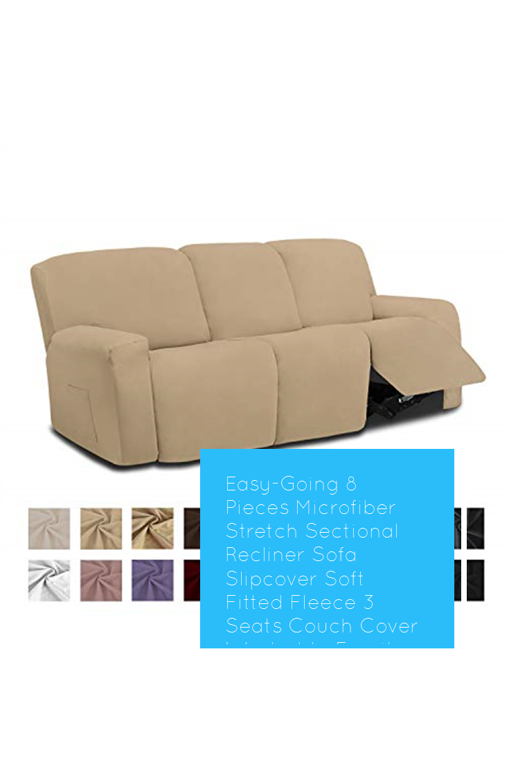 Easy Going 8 Pieces Microfiber Stretch Sectional Recliner Sofa Slipcover Soft Fitted Fleece 3 Seats Co In 2020 Couch Covers Sectional Sofa With Recliner Reclining Sofa