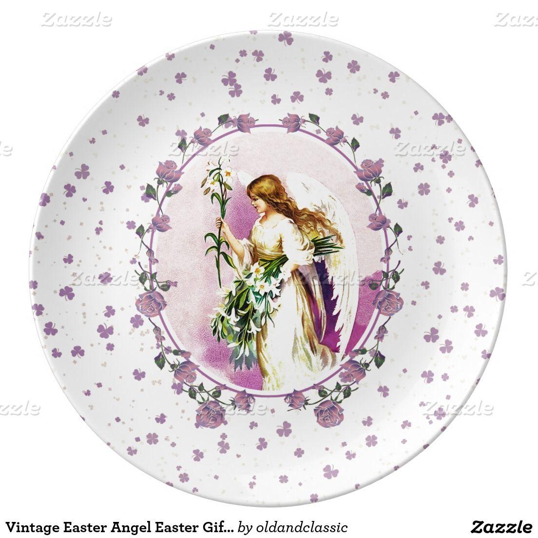 Easter christian gift decorative porcelain plates with a vintage shop vintage easter angel easter gift porcelain plates created by oldandclassic negle Gallery