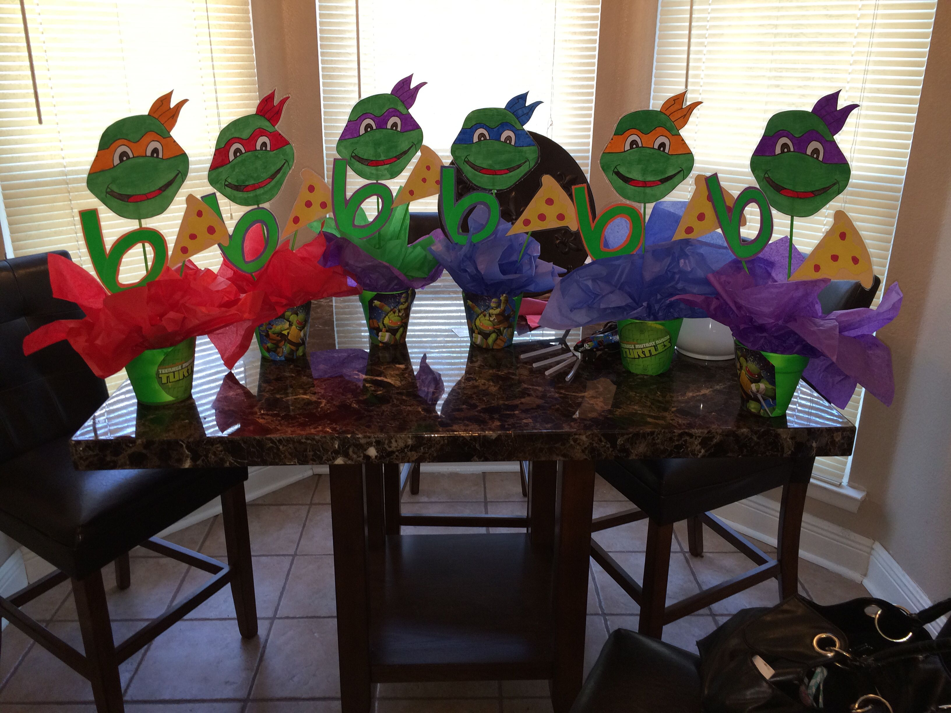 Ninja Turtle Centerpiece S Cute And Cheap Ninja Turtles Birthday Party Kids Party Centerpieces Turtle Birthday Parties