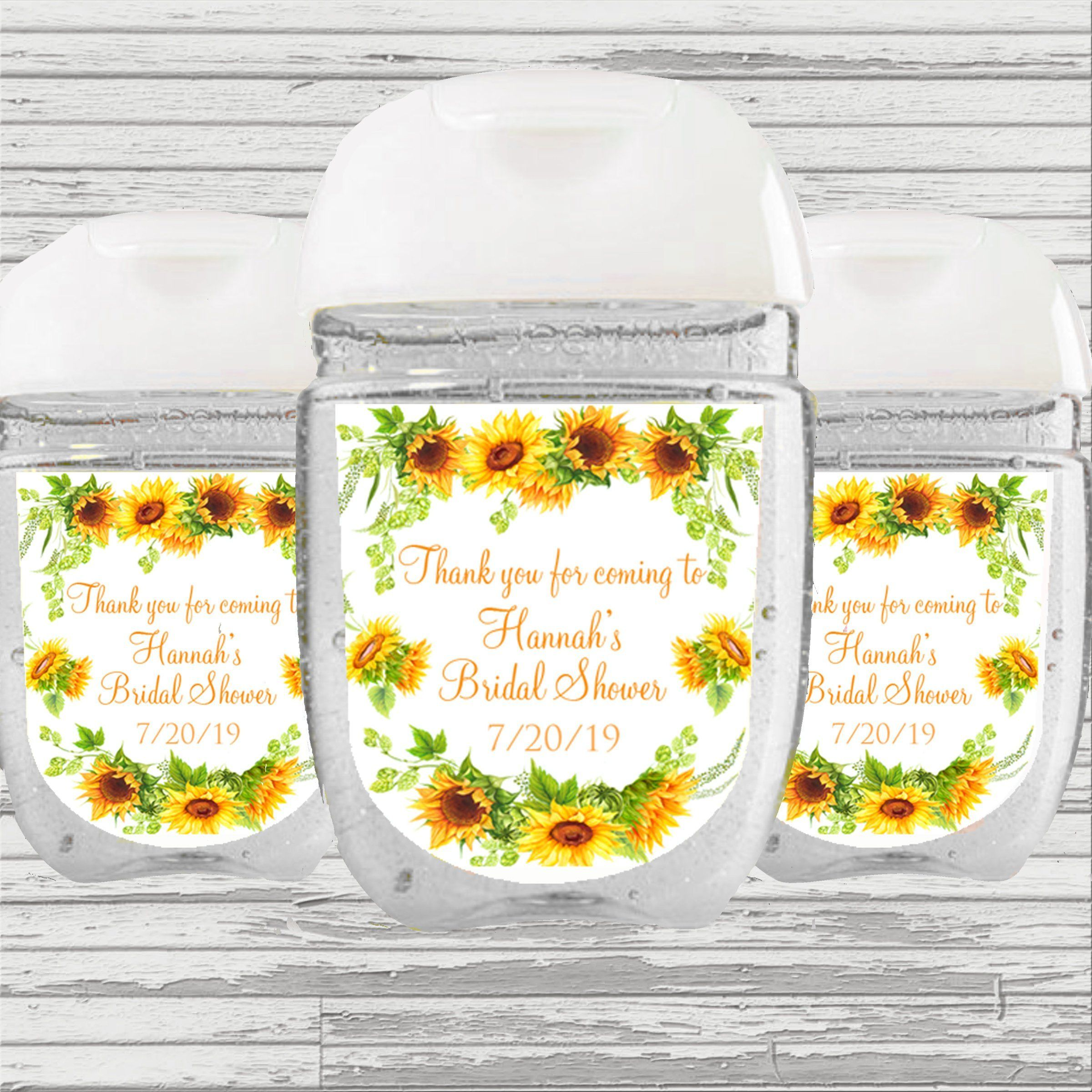 Faux Wood and Sunflowers Baby Shower Hand Sanitizer Labels