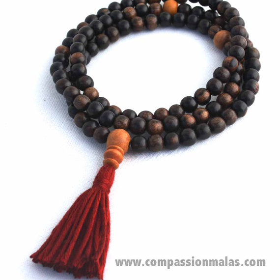 zen buddha dear mala beads buddhist prayer bracelet ebony meditation necklace unisex burried