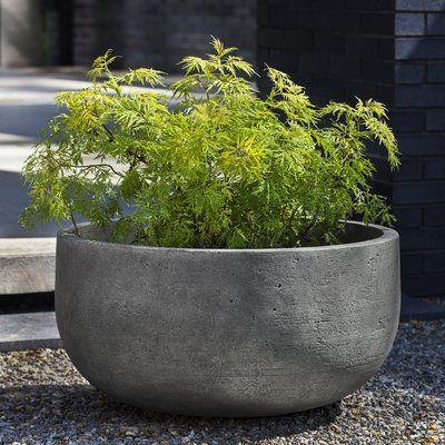 17 Stories Barbour Handmade Low Cast Stone Pot Planter Color Brownstone Planters Cast Stone Planter Pots