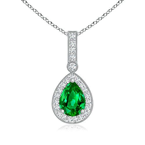 Angara Womens Emerald and Diamond Dangling Necklace in Platinum N5KJApSg5K