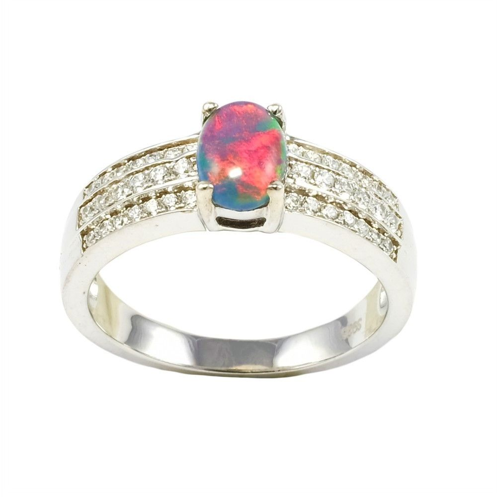 Amazing Red Brilliance Sterling Silver Australian Black Opal Ring Black Opal Ring Opal Diamond Ring Sterling Silver Opal Ring