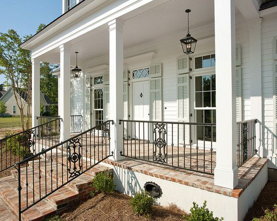 Brick Front Porch With Images Porch Railing Designs House