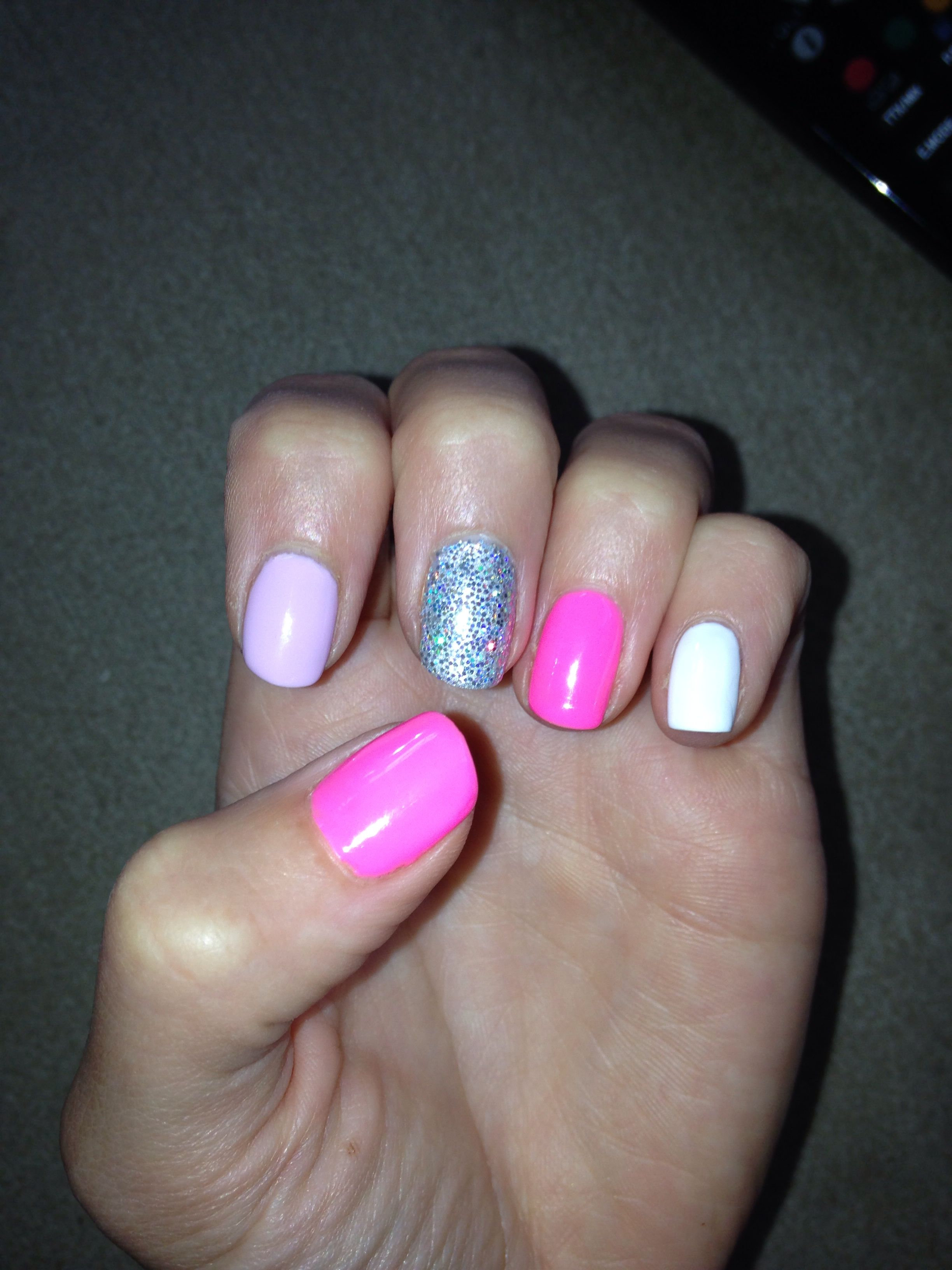 Shellac pink combo... Perfect for Summer Pink, white and silver!!