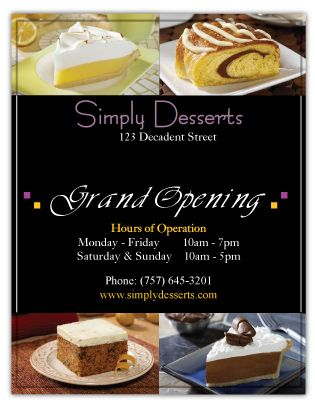 An elegant flyer design for a decadent desserts business created by