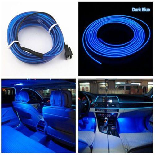 Universal Car Interior LED Decor Neon EL Wire Strip Atmosphere Cold Light